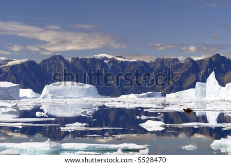 Iceberg Bay - Northeast Greenland National Park - stock photo