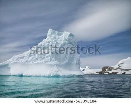 Iceberg detail of various forms and sizes in the polar regions of earth