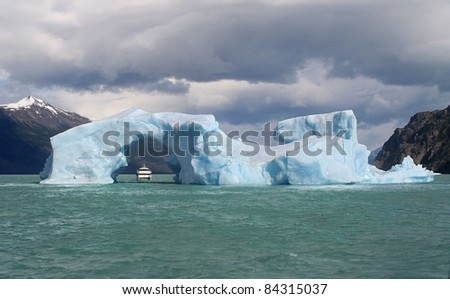 Iceberg floating in Lago Argentino broken off from the Perito Moreno Glacier