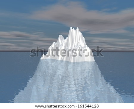 iceberg illustration intuition, hided opportunity and subconscious mind concept - stock photo