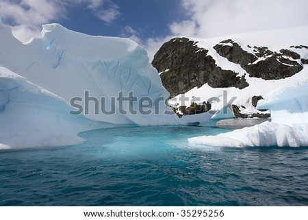 Iceberg in Paradise Bay, Antarctica - stock photo