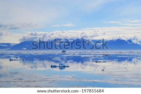 Iceberg in Scoresby Sound/Scoreby Sund, Ittoqqortoormiit, Greenland - stock photo