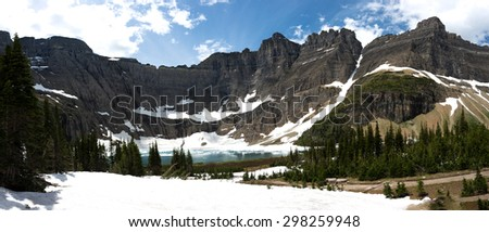Iceberg Lake, Glacier National Park, MT - stock photo