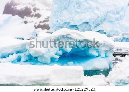 Iceberg of Antarctica, South Pole. South Atlantica Ocean. - stock photo