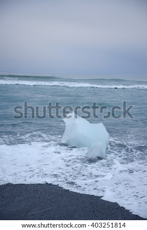 iceberg on black sand beach at Jokulsarlon