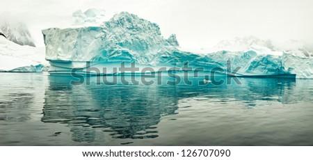 Iceberg, west coast of antarctic peninsula - stock photo