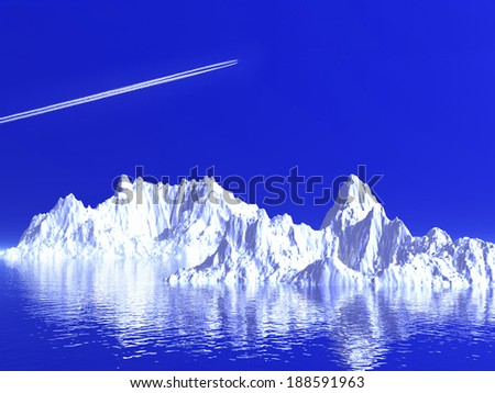 Iceberg with plane flying over