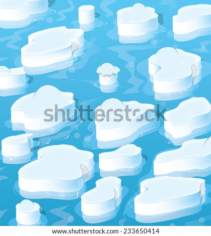 Icebergs, A collection of floating icebergs in a freezing arctic ocean, these cartoon style icebergs are covered with snow and are reflecting in the icy water. - stock photo