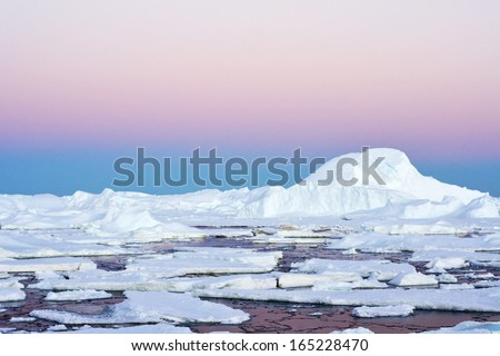 Icebergs and Antarctic continent.