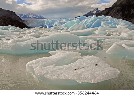 Icebergs and Mountains in a glacial landscape, Southern Patagonia, Argentina - stock photo