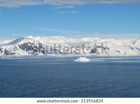 Icebergs and ocean. Peculiar landscape of the Antarctica landscape - stock photo