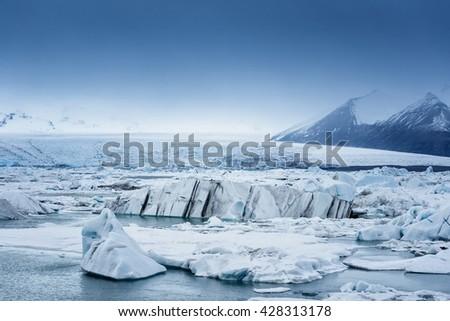 Icebergs at glacier lagoon  - stock photo