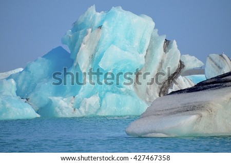 Icebergs at Jokulsarlon Glacial Lagoon in Iceland - stock photo