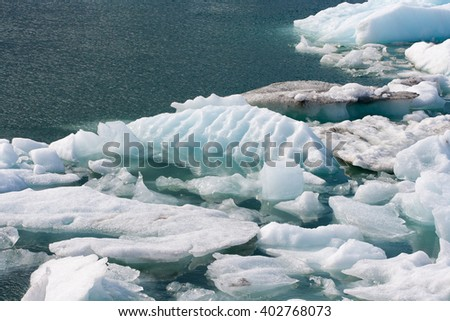 Icebergs at Jokulsarlon glacier lagoon, south of Iceland