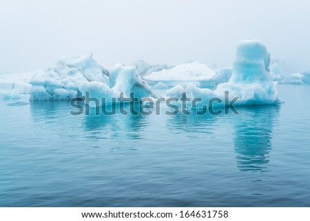 Icebergs float at Jokulsarlon, after breaking from the glacier