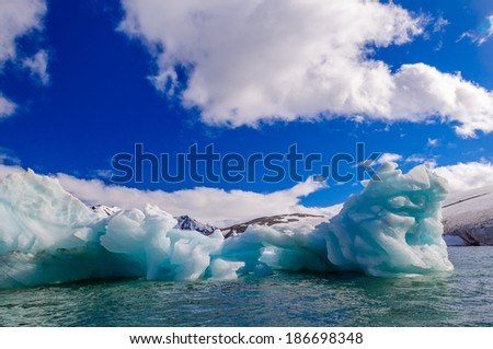 Icebergs floating in a fjord in the Arctic Ocean, Hornsund, Norway
