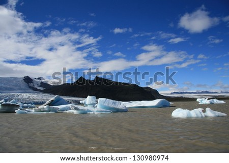 Icebergs floating in a glacier lagoon in Iceland