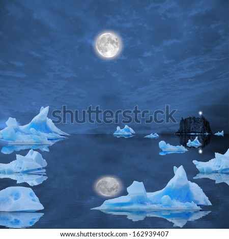Icebergs floating in the midnight sea.