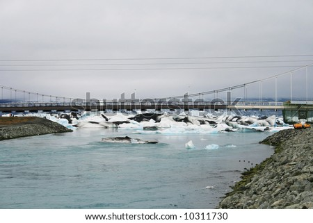 icebergs floating on river under bridge in Iceland