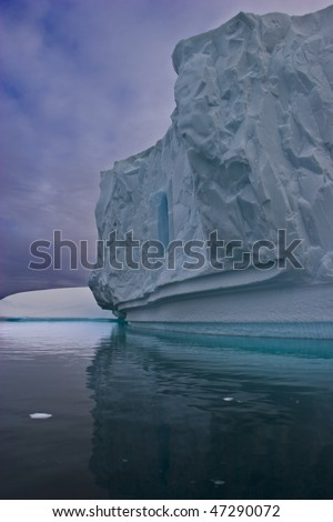 icebergs floating on the water, east greenland - stock photo