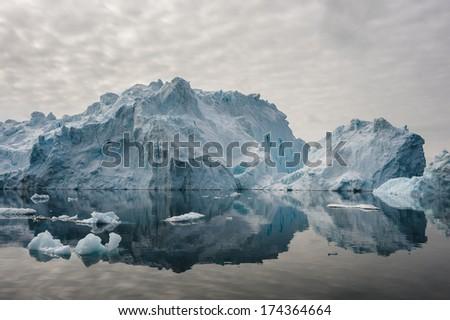 Icebergs in Disko bay, North Greenland - stock photo