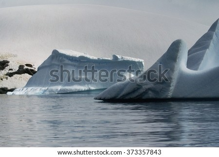 Icebergs in fanciful shapes floating in shallow waters off the coast of Antarctica