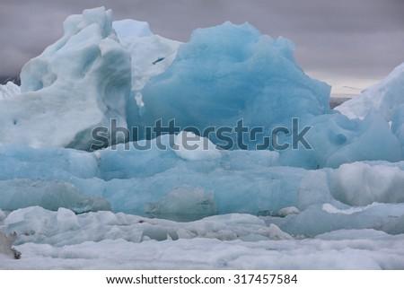 Icebergs in Jokulsarlon Lagoon. Iceland - stock photo