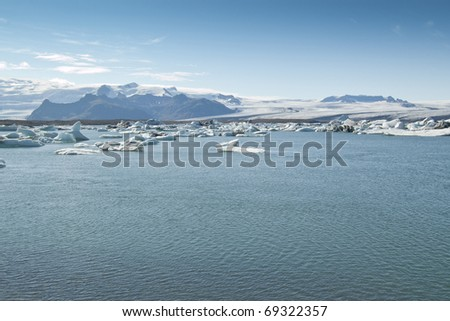 Icebergs in Jokulsarlon Lake (Iceland). Jokulsarlon is the largest glacier lagoon or lake in Iceland.