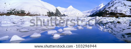Icebergs in Portage Lake and Portage Glacier, Alaska - stock photo