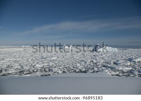 Icebergs in the Antarctic Ocean - 2. - stock photo