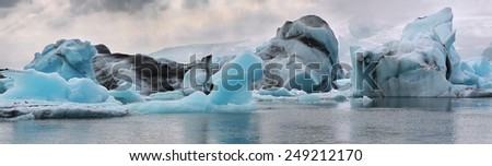 Icebergs in the glacier lagoon. Iceland.