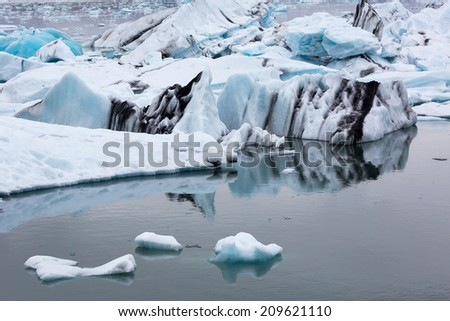 Icebergs in the glacier lagoon in Iceland  kulsarlon