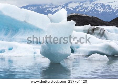 Icebergs in the Jokulsarlon Glacier Lagoon, Iceland - stock photo