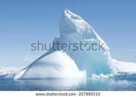 Icebergs in the solar glare. - stock photo