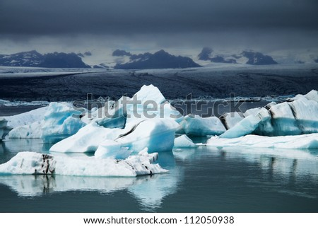Icebergs on Jökulsárlón glacier lagoon, Iceland - stock photo