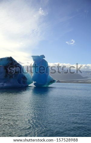 Icebergs on Jokulsarlon lagoon Iceland - stock photo