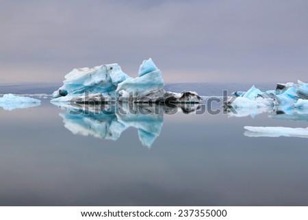 Icebergs on the lake - stock photo