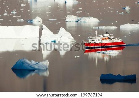 Icebergs - Scoresby Sound - Greenland - stock photo