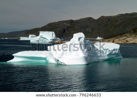 Icebergs seem to be queuing to melt in Hvalsey Fjord in south Greenland. They are blown in from the sea of the Arctic Ocean after calving from huge glaciers. Once trapped in fjords the sun boils them
