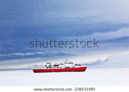 Icebreaker in the North sea, North pole, Svalbard island.Copy space - stock photo
