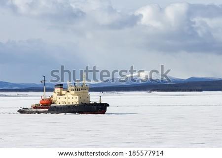 Icebreaker in the White Sea, Russia - stock photo