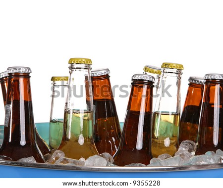 Iced beer in a blue bucket - stock photo