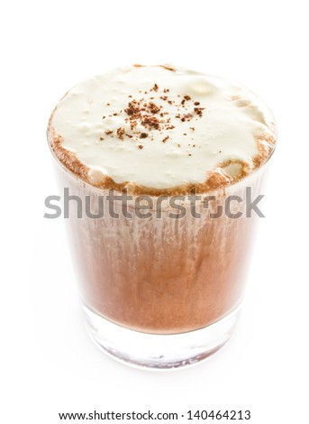 Iced blended frappe coffee on white background, selective focus