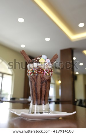 iced blended frappucino with chocolate stick - stock photo
