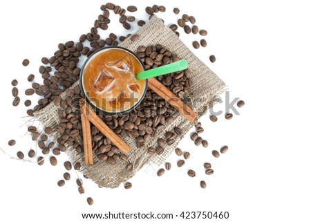 Iced brew coffee with milk isolated on white background. Top view. - stock photo