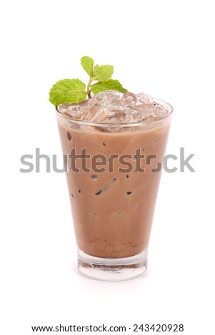 iced cocoa in a glass isolated on white background  - stock photo