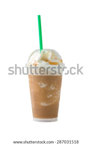 iced coffee and whipped cream with clipping path - stock photo