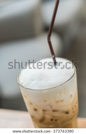 iced coffee cup in shop
