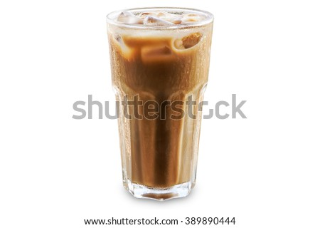 Iced coffee in a glass isolated and white background - stock photo