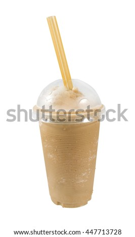 Iced coffee in cup on white background